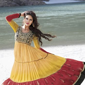 Yellow and Red Faux Georgette Anarkali Churidar Kameez