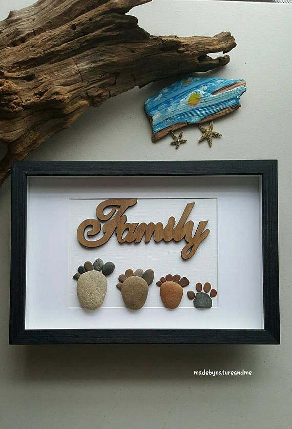 Family of three with dog- feet print 8x12 frame-3 colors available  Shipped next business day Delivery 1-3 days