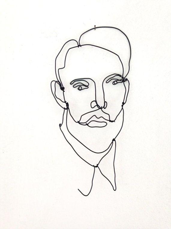 Draad Wall Art beeld van een Man met baard Hipster Art