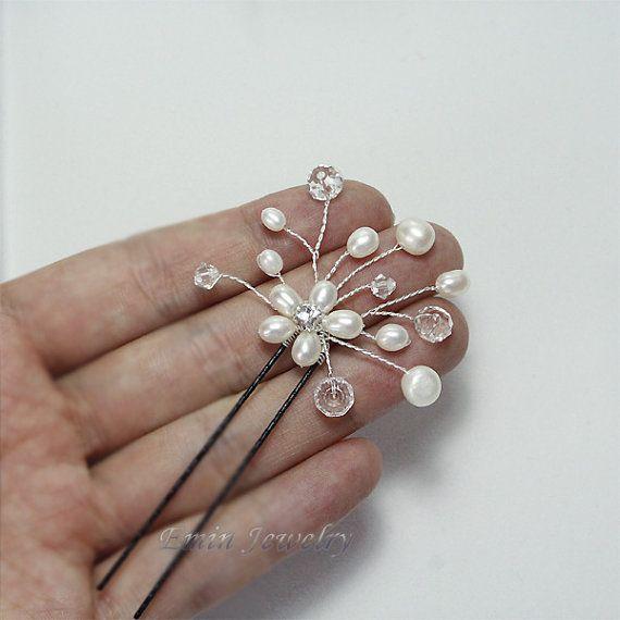 3 Pelo nupcial Pin Set H0003 pasadores de pelo por adriajewelry