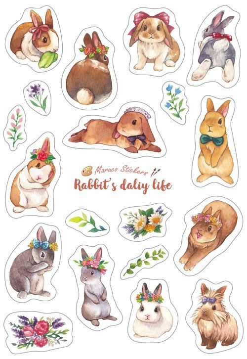 Rabbit Daily Life - White Knife Die Stickers