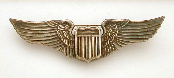 WWII US Army Air Force Pilot Juarez Wings Pin - Coin Silver - Large 3.25