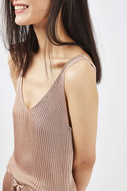 Upgrade your basics in this super-soft slinky loungewear cami, crafted in a ribbed texture in chic camel. A laid-back chic style, match with the slinky rib loungewear jogger for ultimate impact. #Topshop