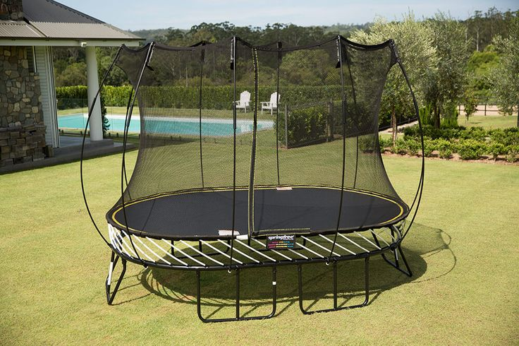 The 8 x 11 ft oval trampoline is perfect for narrow backyards. Springfree Trampoline, the World's Safest Trampoline, provides the safest backyard trampolines online or through select dealers throughout USA.