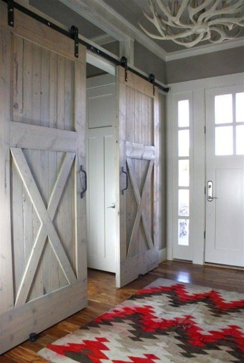 Beautiful entry way...... Rustic Vintage Decor. Love the doors would love to put one of these on my walk in closet when we remodel our bedroom!