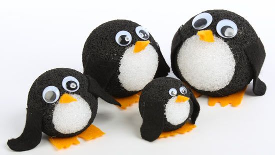Styrofoam ball penguins i first saw these on factory for Crafts with styrofoam balls for kids