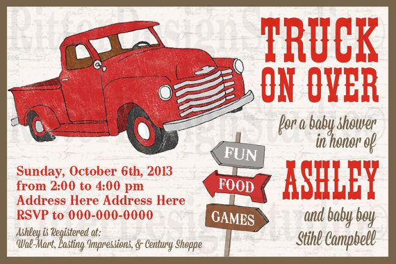 Old Vintage Truck Baby Shower Invitation Printable