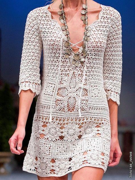 Crochetemoda: Vestido Branco de Crochet II
