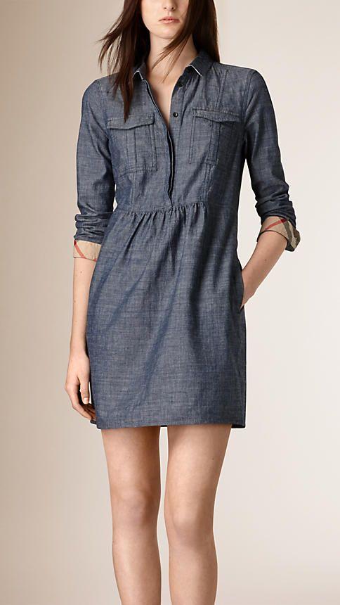 Light indigo Gathered Detail Chambray Tunic Dress - Image 1