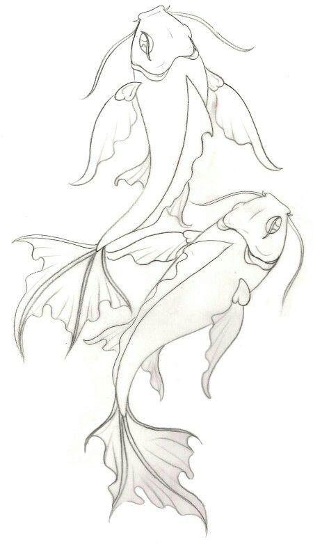 Sketch of two koi fish