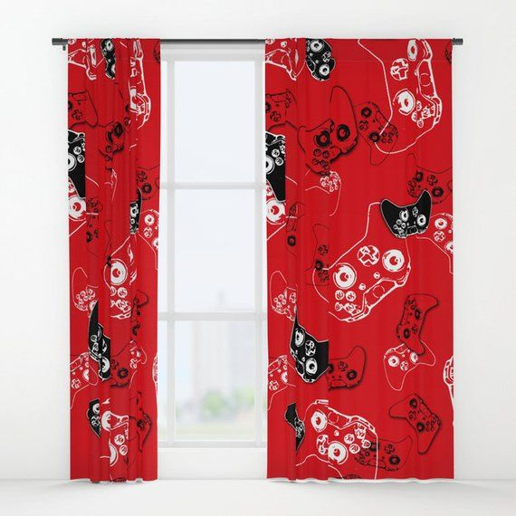 Red Gamer Curtains, Gamer Room Window Curtain, Boys Curtains, Gamer Gifts, Video Game Decor, Gaming Decor, Gamer Birthday Gift, Gamer Geek