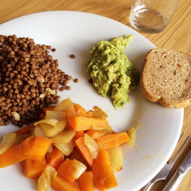 Lentilles aux carottes et oignons + guacamole