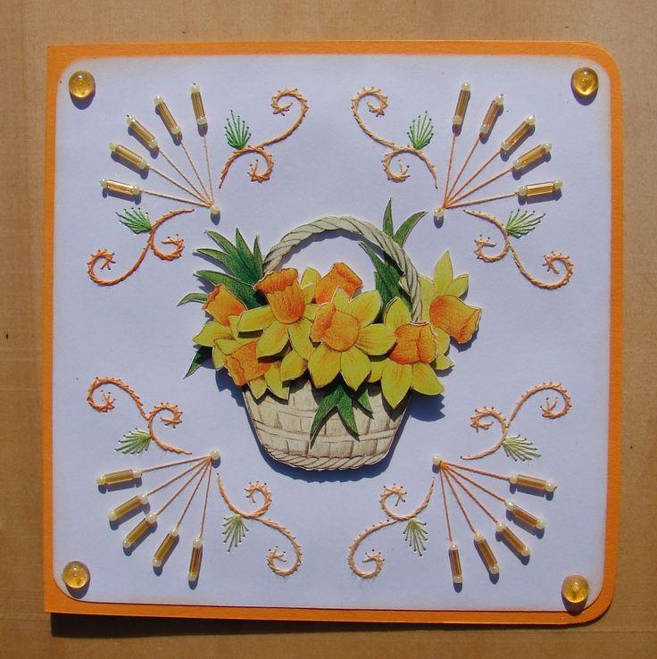carte printanière bouquet de jonquilles en 3D broderie avec perles : Cartes par cdine08-aux-cartes-de-sandrine