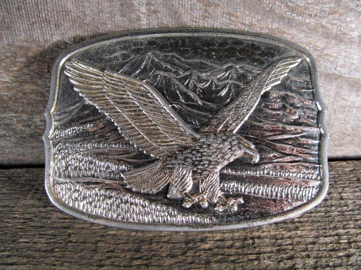 Belt Buckle, American Eagle with Talons Extended and Mountains in Background, Retro Fashion Accessory, Vintage Collectible, Western Apparel by TheStorageChest on Etsy
