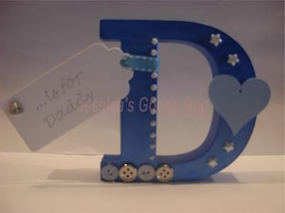 Shapes & Letters - Jessica's Goody Bag. Small freestanding MDF letter, hand-painted, decorated & personalised to meet your needs.