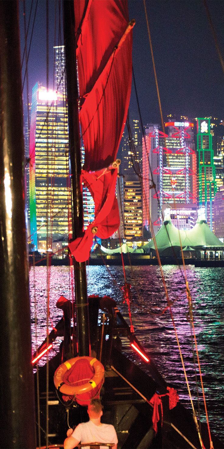 Evening cruise through Victoria Harbour on the Aqua Luna Junk Boat in HONG KONG - Special Administrative Region of CHINA