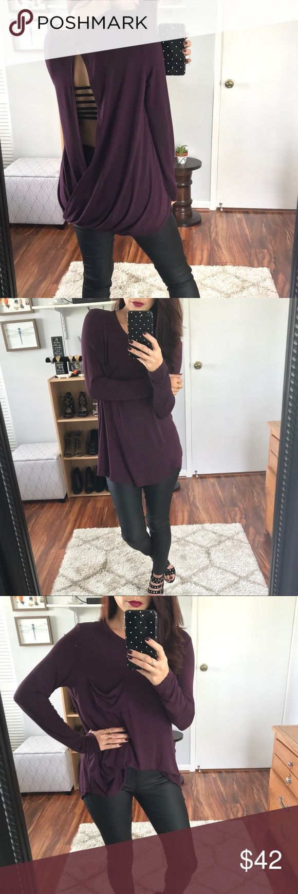 🆕 Perry Soft Tulip Back LS Tunic - Dark Plum A super soft basic LS with a twist.  Pretty tulip design in back, with a draped pocket in front.  I paired mine with a strappy back bralette.  Would also look great paired with a cami for more coverage.  Available in Olive, Dark Plum, & Caramel.  Modeling size Small.  Price firm unless bundled▫️10% off 2+ items. Tops Tunics