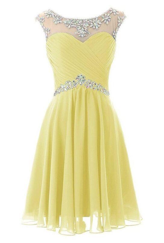 Homecoming Dresses, Short/Mini Prom Dresses,yellow Homecoming Dresses,Evening…