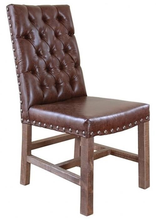 Parota Faux Leather Chair With Tufted Back By International