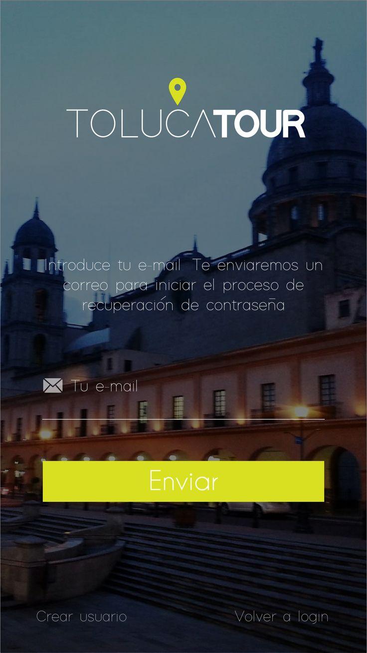 Toluca Tour app, pantalla de recuperación de contraseña. Colaboración