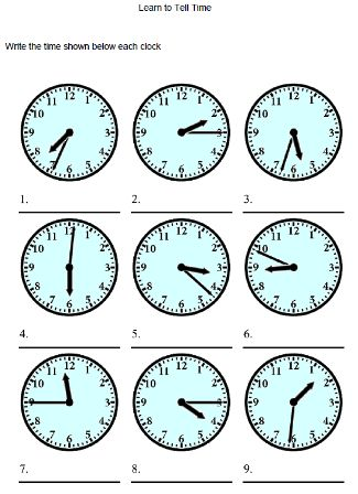 Worksheet French Time - Stay At Hand