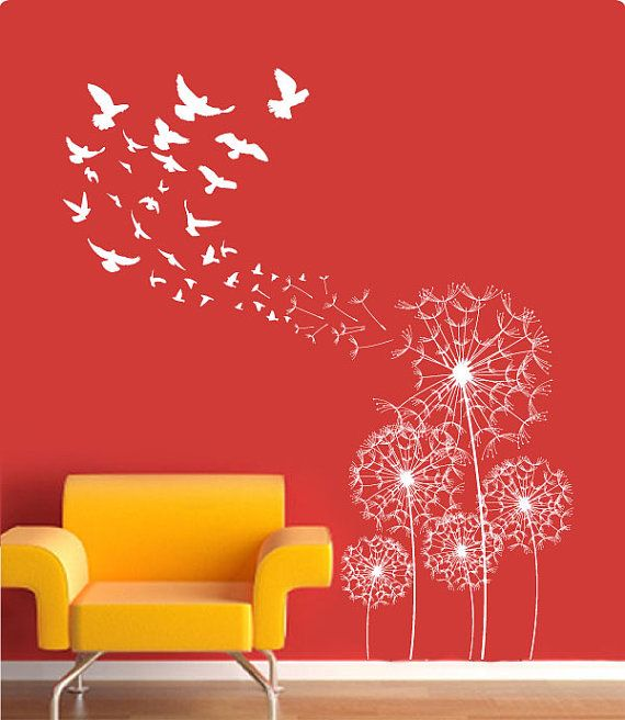Flying Dandelion & Flying Birds Vinyl Sticker by ModernWallDecal, $88.00