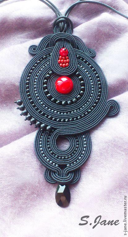 Купить Кулон. Красное и черное. - чёрный, красный, сутаж, сутажная техника, сутажные украшения