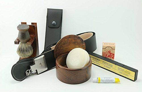 Dovo Straight Razor with Wood Shave Set and accessories