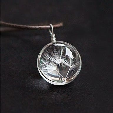 Hot Fashion Crystal glass Ball Dandelion Necklace Long Strip Leather Chain Pendant Necklaces Women 2015 Jewelry CX-116