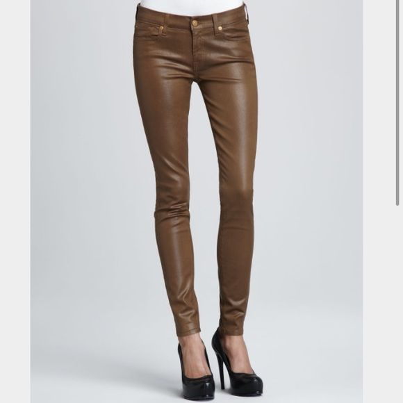7 For All Mankind - Skinny Coated Jean Sz 26 Wax coated skinny jeans - color (sepia brown) Sz 26. Worn once and still in great condition! 7 for all Mankind Jeans Skinny