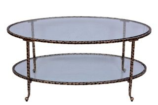 Hammered oval coffee table in Antique gold by Tantra Mirrors