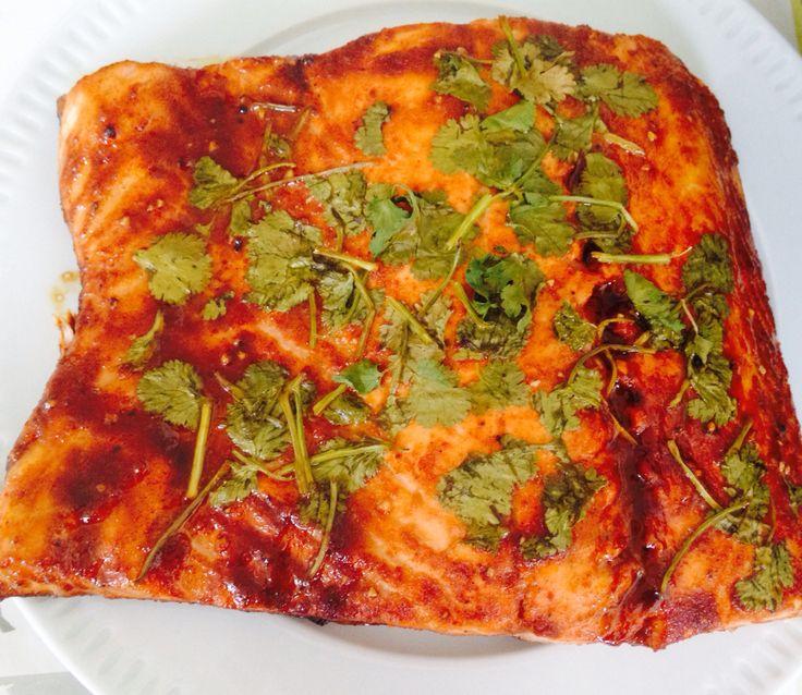Grilled marinade salmon with coriander, chili , tamarind