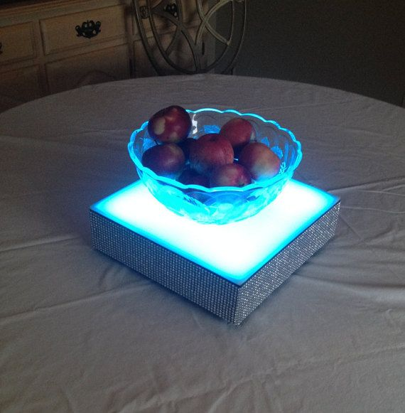 "Bedazzled Blingy Battery Operated 12"" Inch Square Color Changing LED Cake Stand, Wedding, Light box, Sculpture Stand, Flower Base"