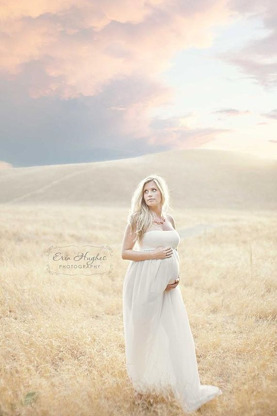 Kaleigh Gown - Sheer Chiffon Strait Top Maxi Style Maternity Gown