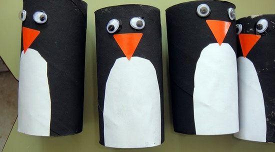pinguinos con rollos de papel higienico