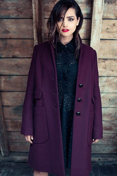 Amazing deep purple coat on Jenna Coleman