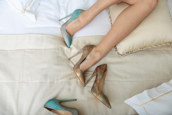 Silvia Matei luxury snakeskin stiletto shoes