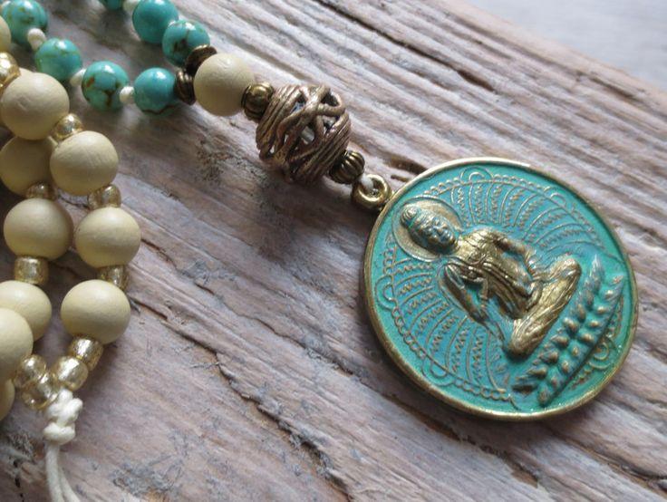 Ketten lang - Mala Kette Buddha Bronze Türkis creme  - ein Designerstück von weibsbild bei DaWanda
