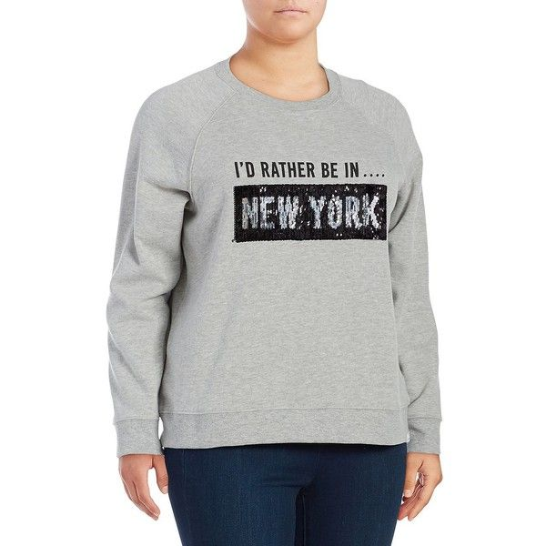 Marc New York Performance Women's Graphic Sweatshirt ($68) ❤ liked on Polyvore featuring plus size women's fashion, plus size clothing, plus size tops, plus size hoodies, plus size sweatshirts, grey, grey top, grey pullover, logo sweatshirts and grey sweatshirt