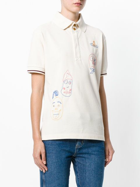 Vivienne Westwood Anglomania  scribble embroidered polo shirt