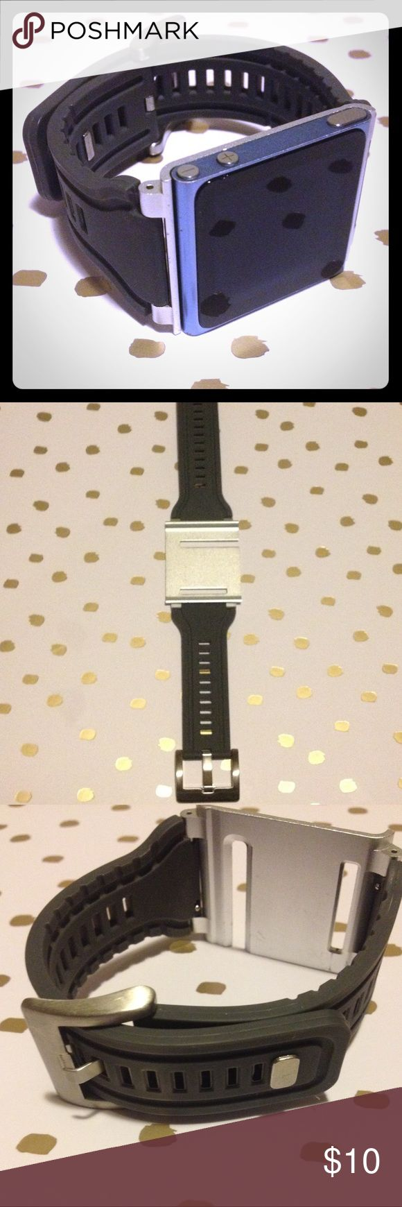 Silicone/ steel watch band for iPod nano 6th gen. Super comfy watch band for iPod nano, 6th generation. Easy to use. In great condition. iPod not included. Accessories Watches