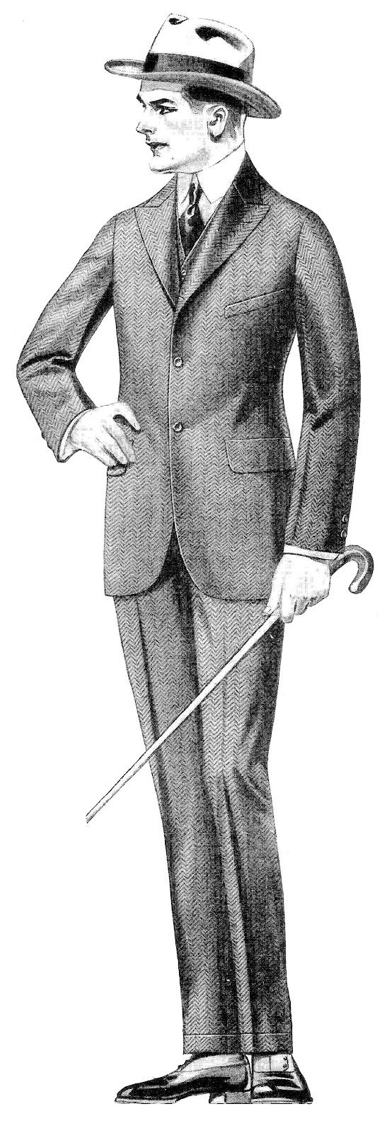Antique Images: Vintage Men's Fashion Clip Art: 2 Vintage Men's Suits from 1915 Clothes Catalog