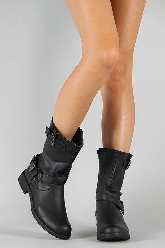 Amazon.com: Koma Buckle Round Toe Riding Mid Calf Boot BLACK: Shoes
