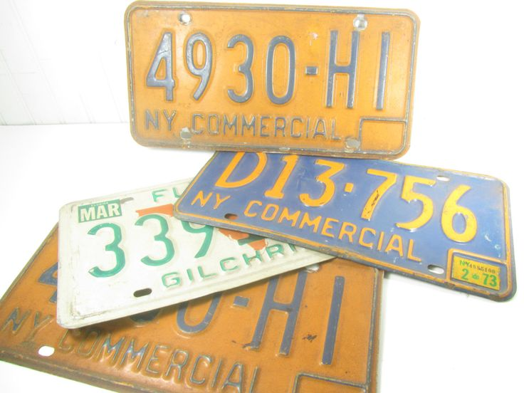 Vintage License Plates, Rusty License Plates, Vintage Car Tags,  Florida License Plate, New York Commercial License Plate1970s by KarensChicNShabby on Etsy