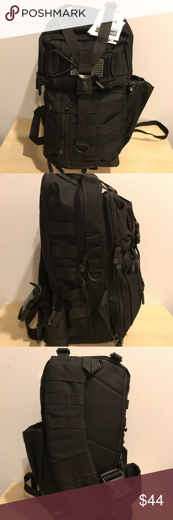 Black tactical Sling Bag oneshoulderstrapcrossbody Tactical Molle Assault Sling Shoulder Cross Body One Strap Backpack  3 zippered front, 1 zippered main, 1 zippered hydration rear pocket, free American flag patch MOLLE straps, D rings, single padded strap Y shaped front, side, and bottom load compression straps Bags Backpacks