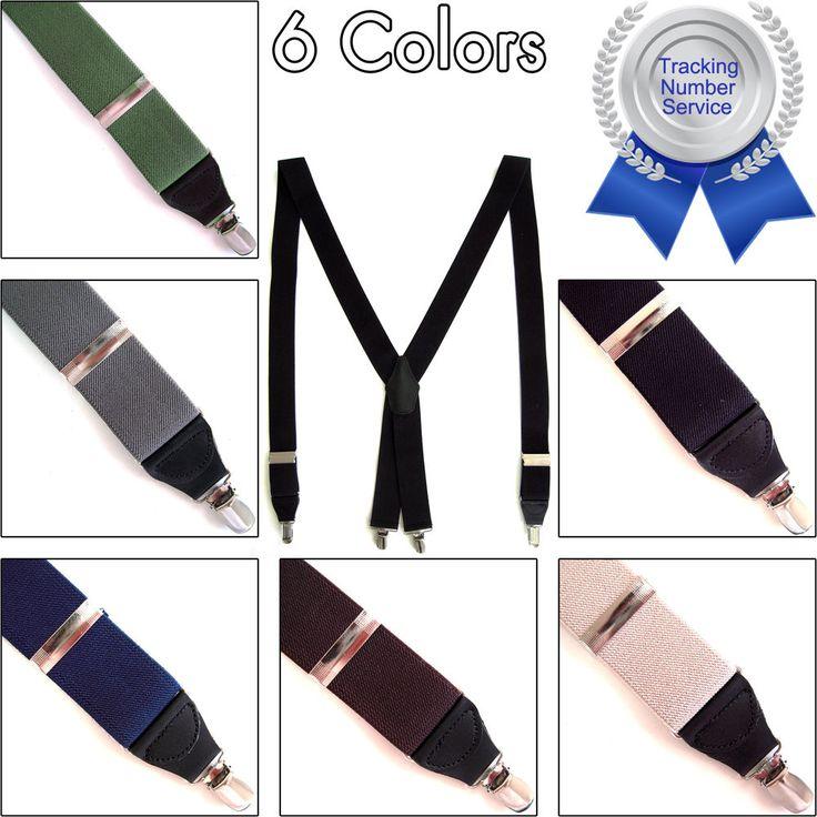 Men's Elastic Clip Suspenders Braces Adjustable X-Back Dress Tuxedo Work Belts  #hellobincom