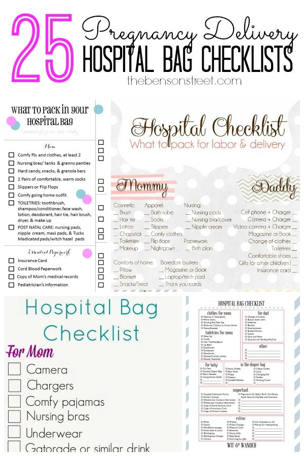 25 Pregnancy Delivery Hospital Bag Checklists at thebensonstreet.com #pregnancy #hospitalbag