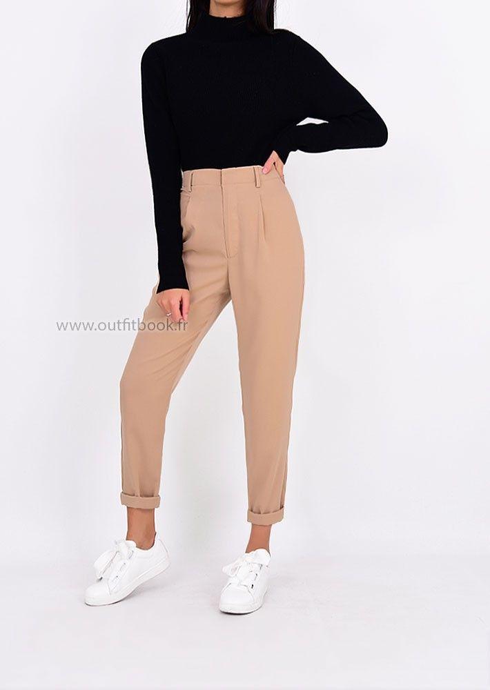 6cfecd7dd3 Pantalon à pince taille haute beige en 2019 | Vestidos | Pantalon à ...
