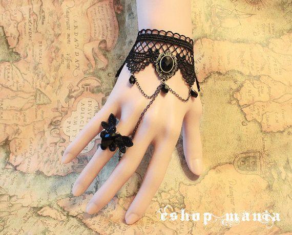 Gothique victorien Lolita noir dentelle noir perle bracelet middle w chaîne bague papillon n Costume Party BR23