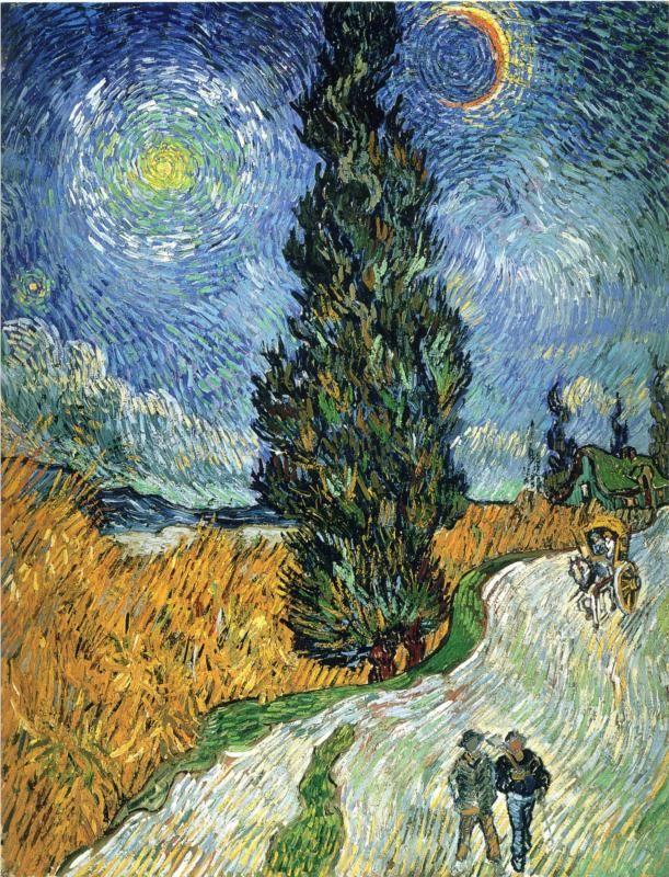 Vincent van Gogh (Dutch 1853–1890) Road with Cypresses, 1890. Place of Creation: Saint-rémy-de-provence, France. Oil on canvas, 92 x 73 cm. Rijksmuseum Kröller-Müller, Otterlo, Netherlands.